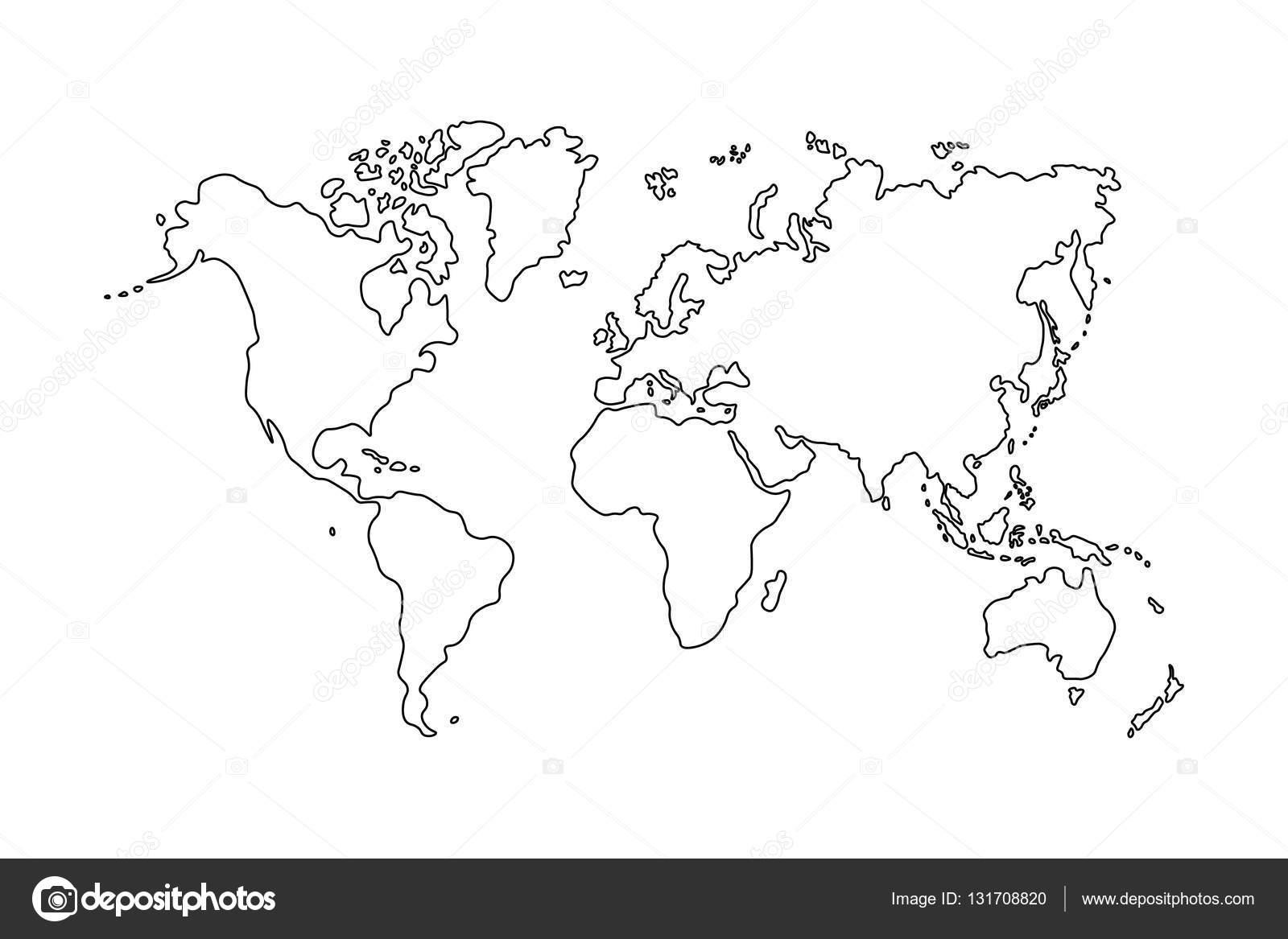 Gliederung Der Weltkarte Auf Weißem Hintergrund