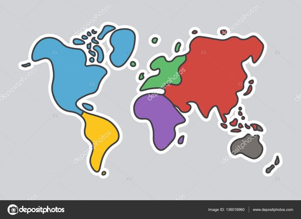 Doodle Stil Dünya Haritası çocuk Boyama Zanaat Gibi Görünüyorsun