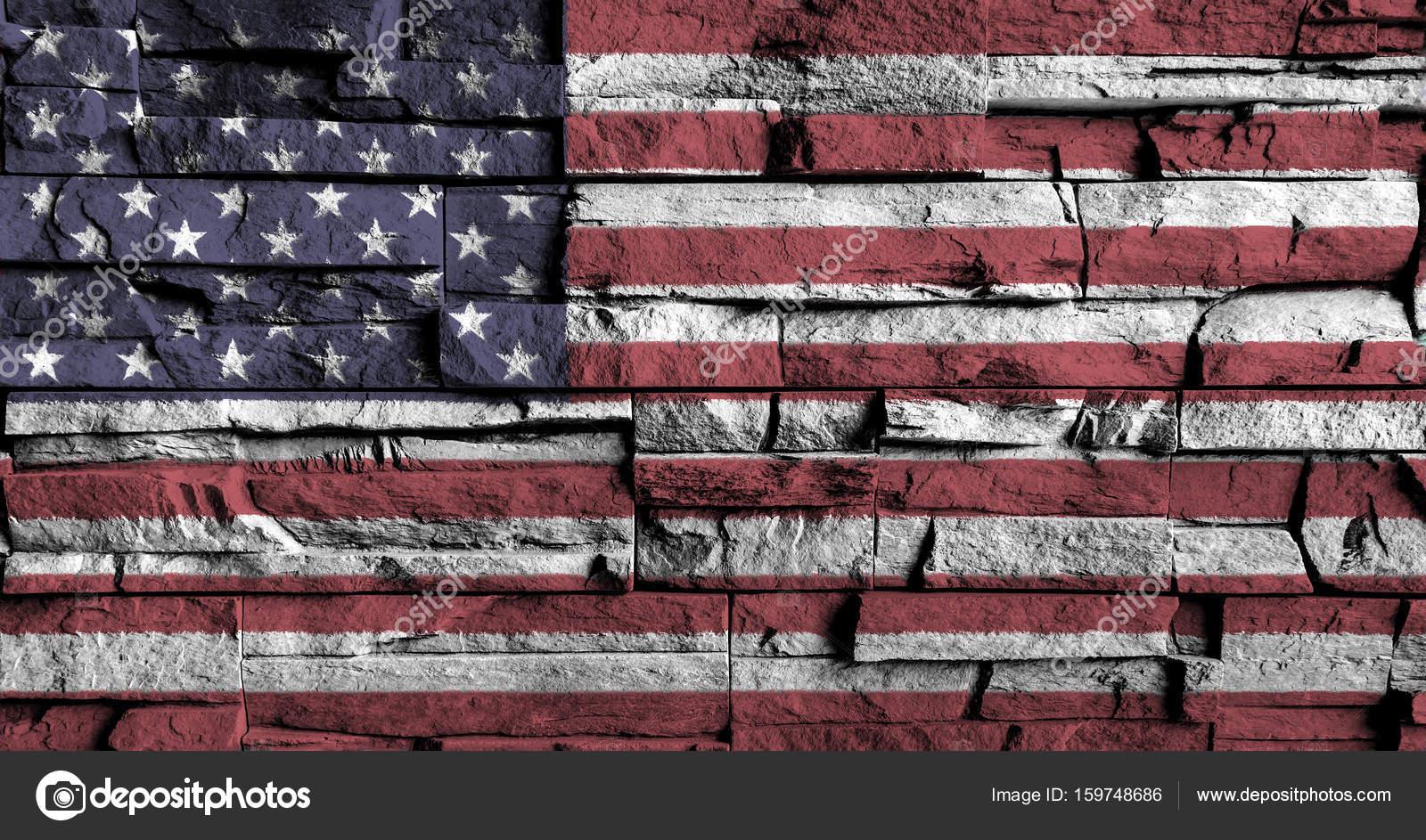 Amerikan Bayrağı Yüksek üzerinde Boyama Eski Tuğla Duvar Detay