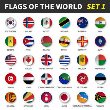 All flags of the world set 1 . Circle and concave design