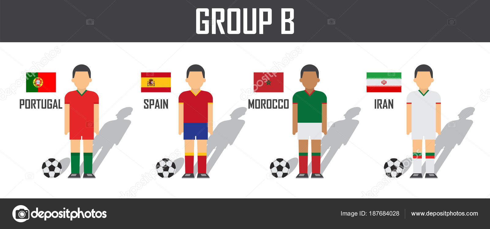 meet afce1 1756e Soccer cup 2018 team group B . Football players with jersey ...