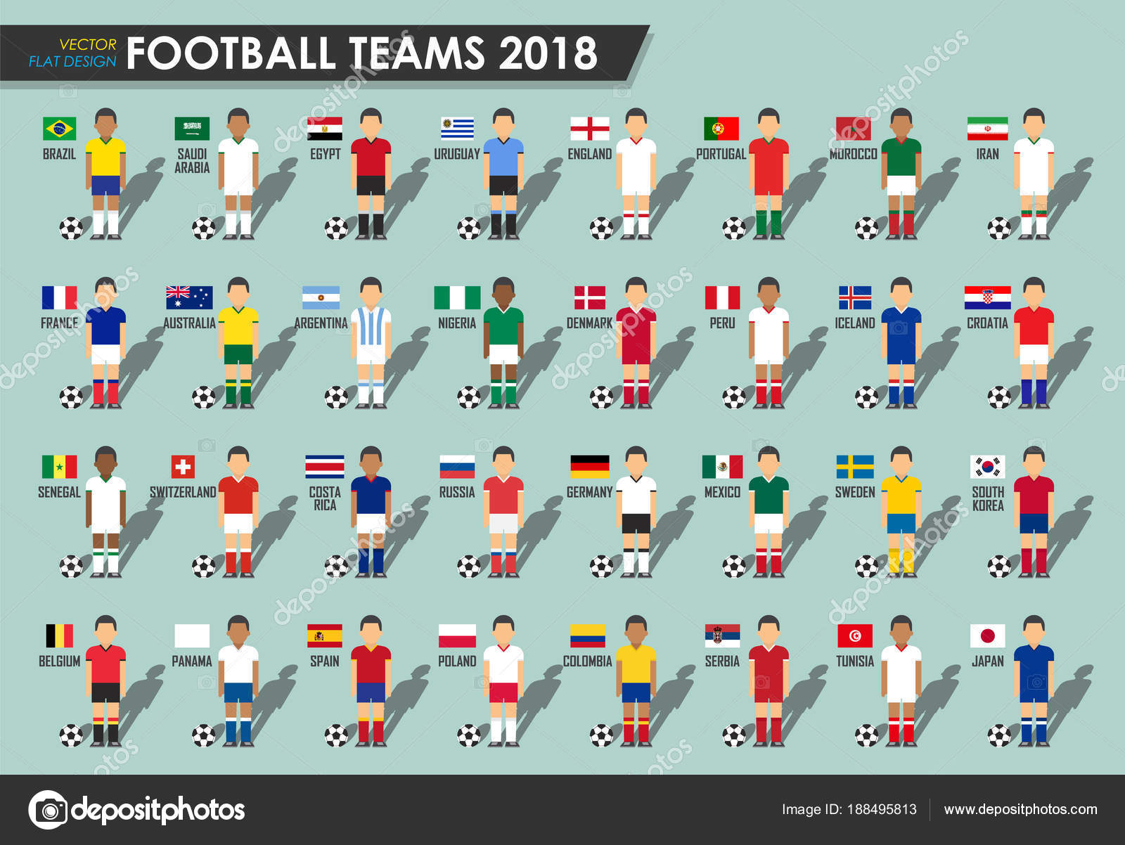 Soccer cup teams 2018 . Set of Football players with jersey uniform and national  flags . Vector for international world championship tournament . d9178d692