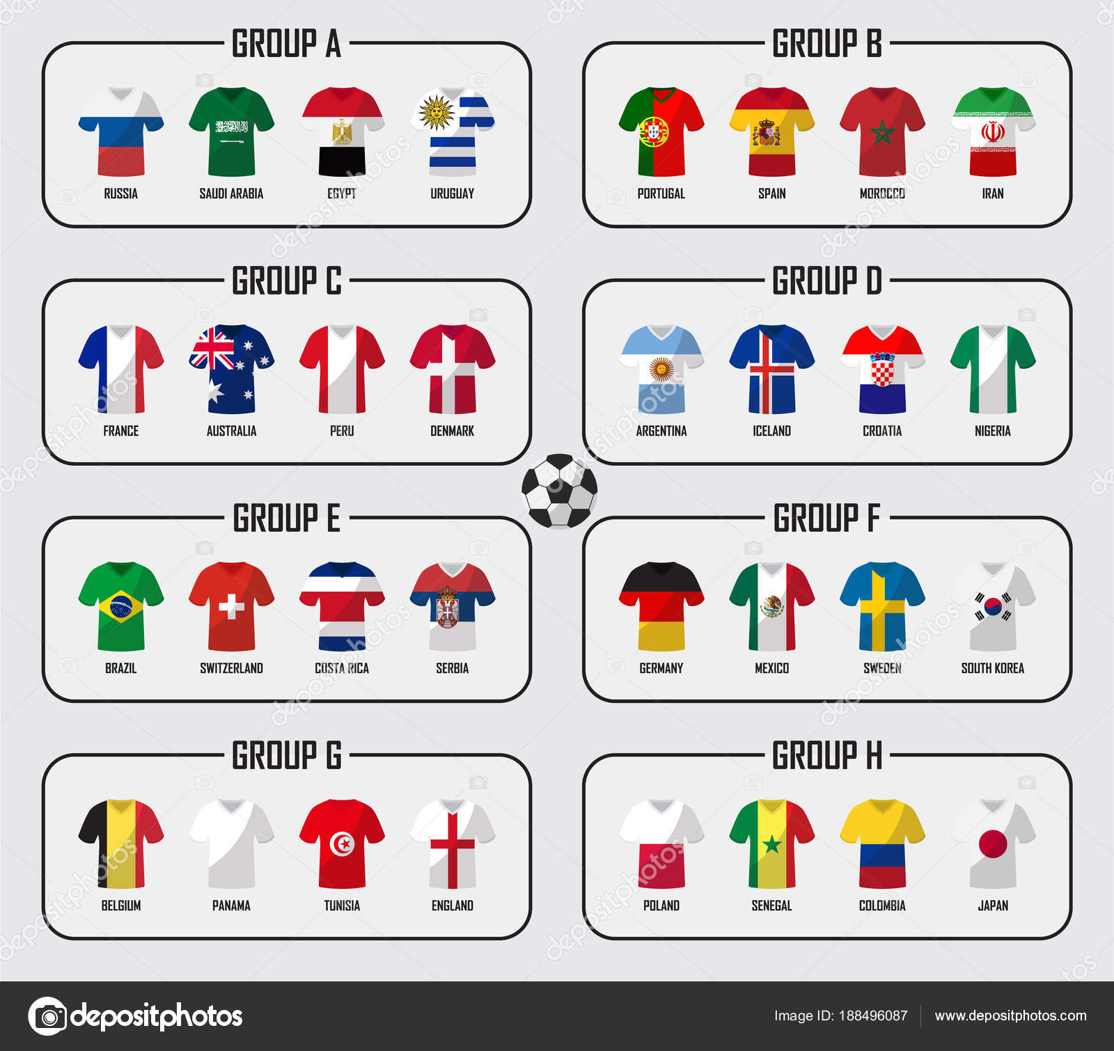 ed50bc656 Soccer cup 2018 team group set . Football players with jersey uniform and national  flags .