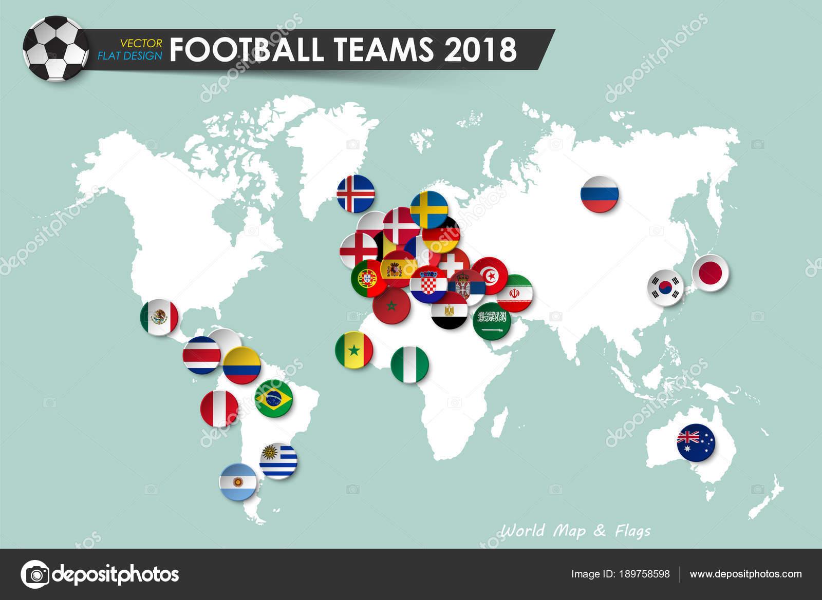 Fussball Wm 2018 Landerflaggen Der Fussballmannschaften Auf