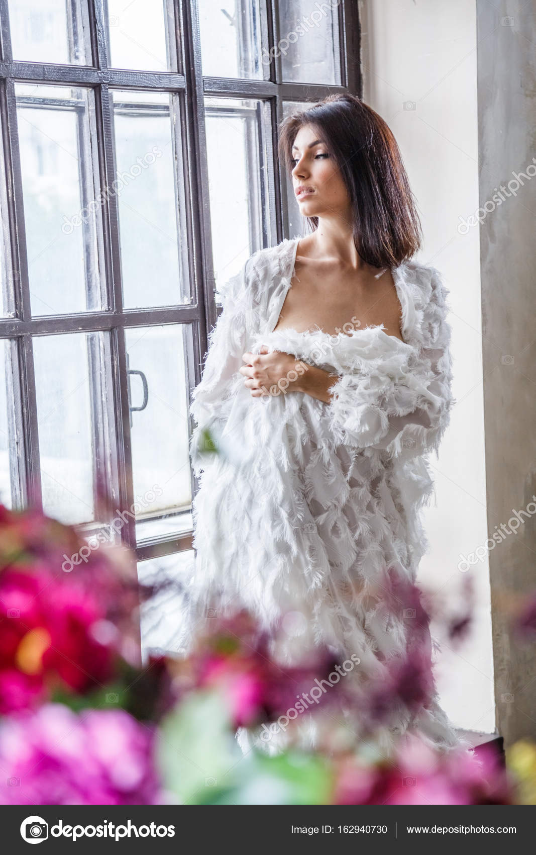 woman in dressing gown posing — Stock Photo © schummyone #162940730