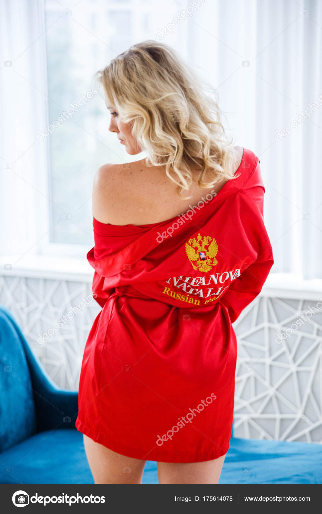 Beauty Young Blond Woman Curly Hair Wearing Red Dressing Gown ... db5868ad5