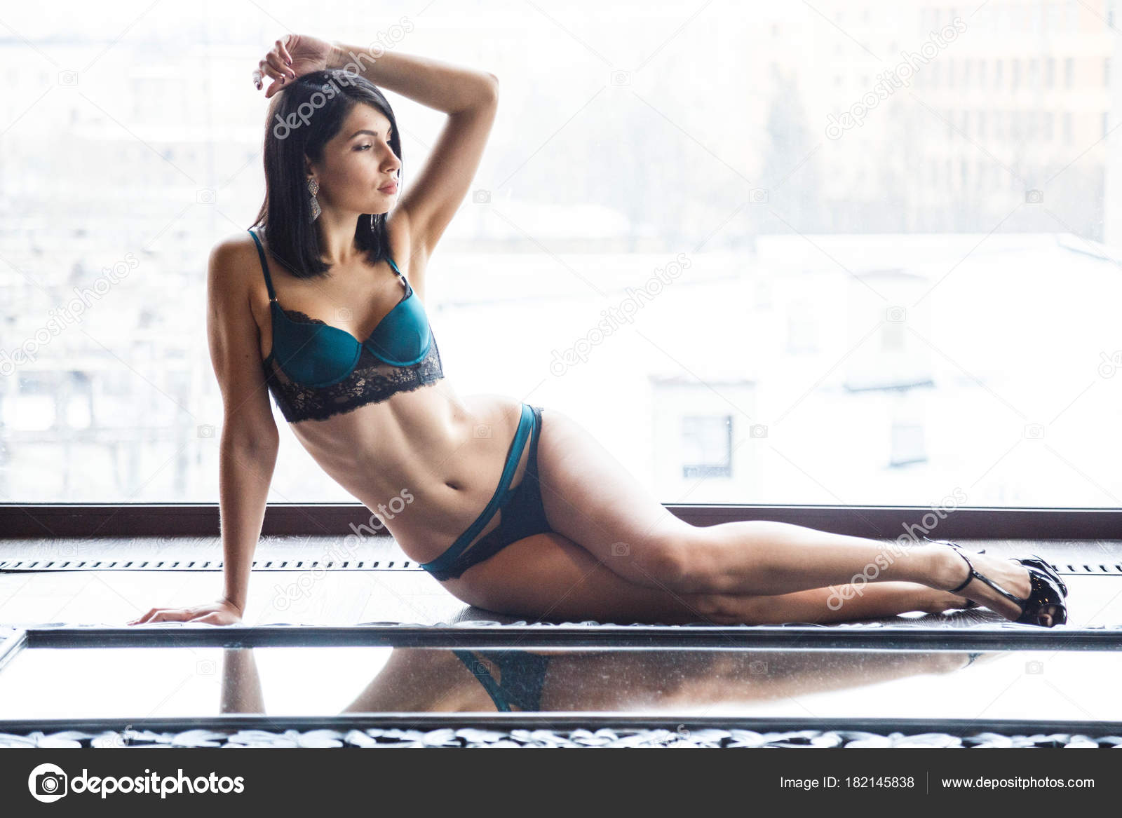 4c7e58c9d1c Studio Shot Beautiful Brunette Woman Wearing Sexy Lingerie Beautiful Sporty  — Stock Photo