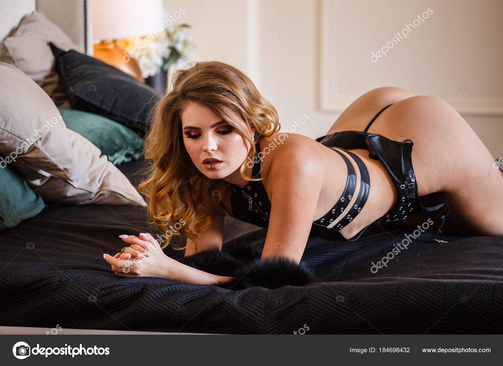 Phenomenal Studio Portrait Beauty Model Wearing Black Leather Lingerie Uwap Interior Chair Design Uwaporg