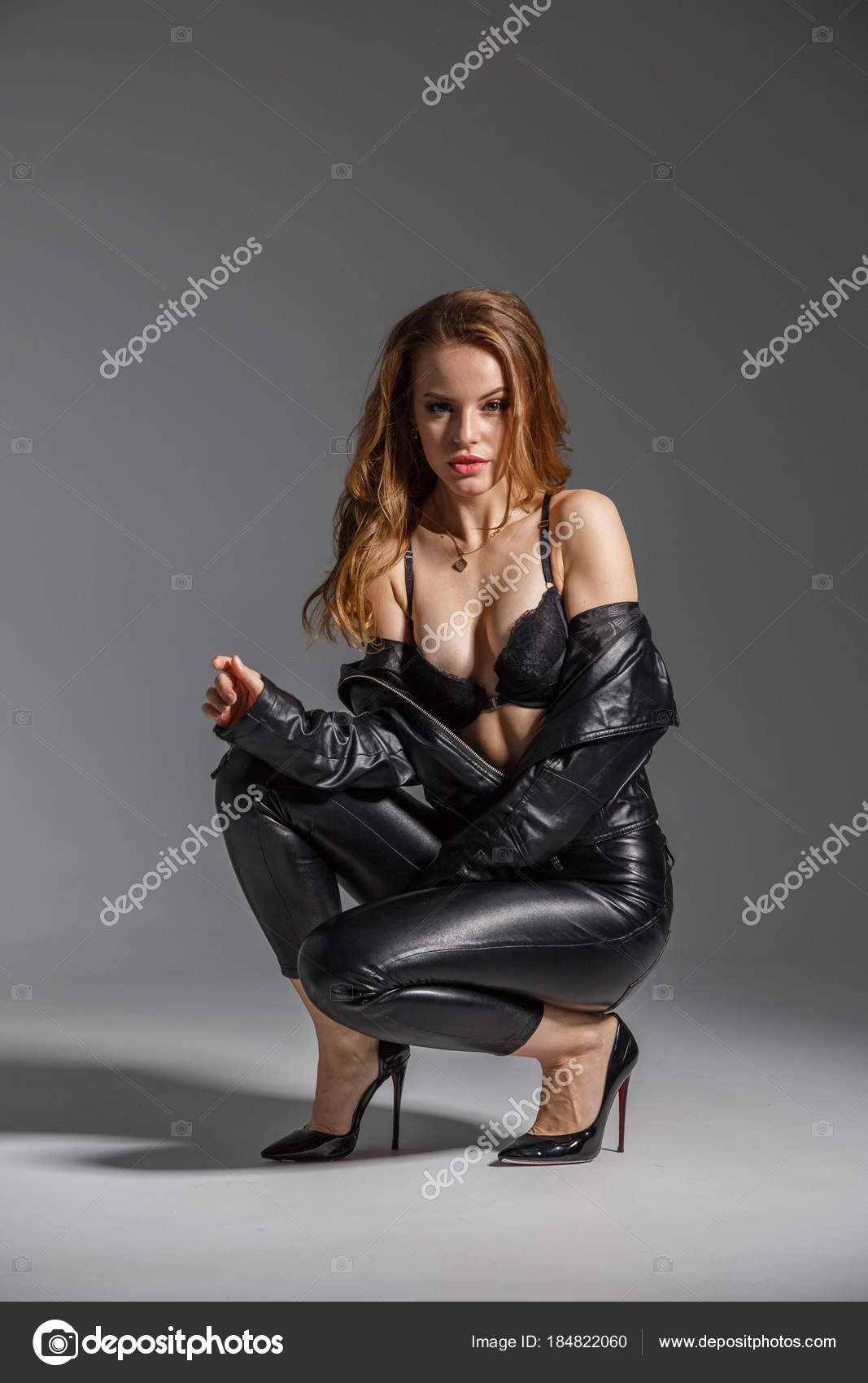 5e16074f84e Shot Beautiful Young Woman Wearing Sexy Black Lingerie Black Leather ...