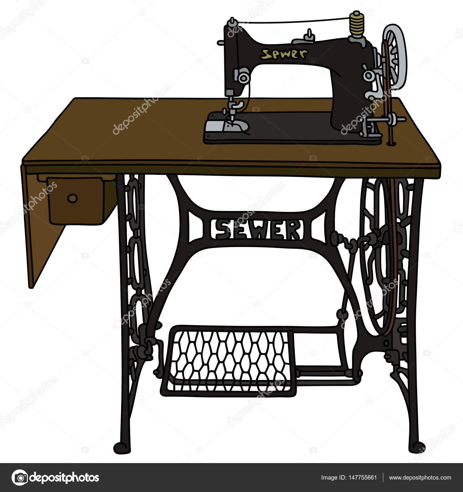 Antigua máquina de coser de pedal — Archivo Imágenes