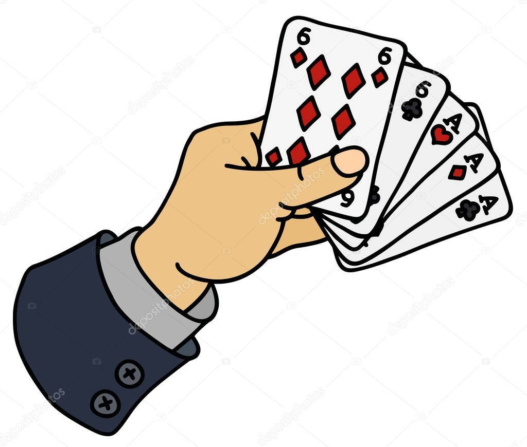 Funny Hand Drawing Of Full House Of Poker Cards In Hand Premium Vector In Adobe Illustrator Ai Ai Format Encapsulated Postscript Eps Eps Format