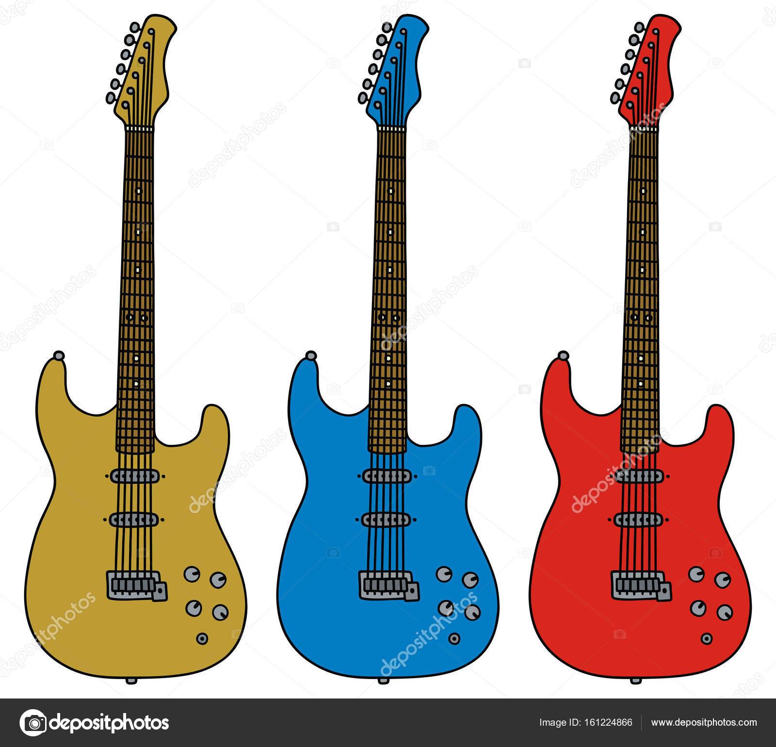 Imágenes Guitarras Tres Guitarras Eléctricas Vector De Stock