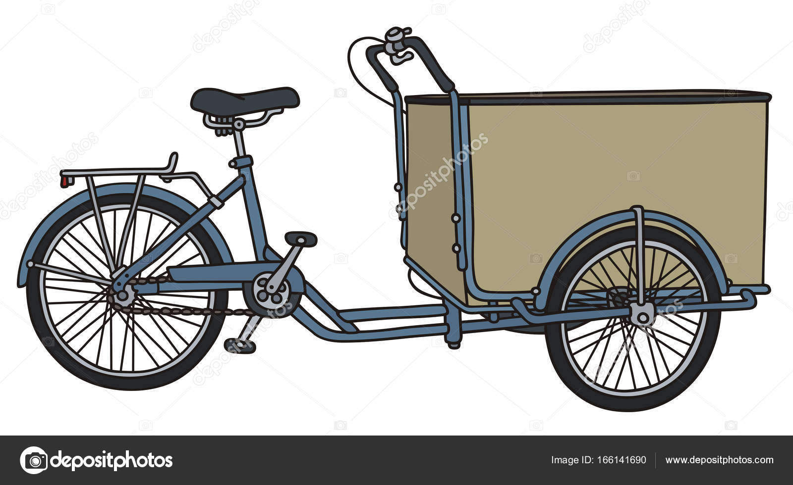 Tricycle Drawing Easy Classic Freight Tricycle Rickshaw Stock Vector C 2v 166141690