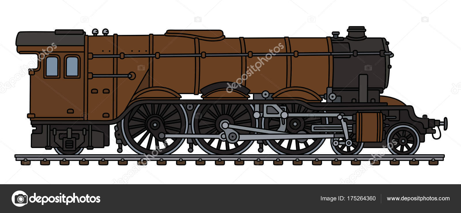 Hand Drawing Classic Brown Steam Locomotive — Stock Vector © 2v