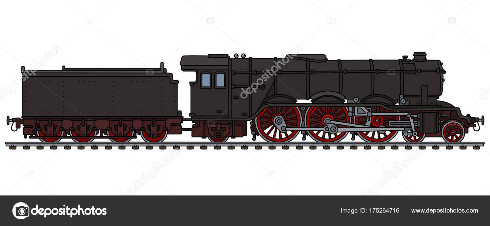 Hand Drawing Classic Black Steam Locomotive — Stock Vector