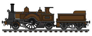 Hand drawing of a vintage brown steam locomotive