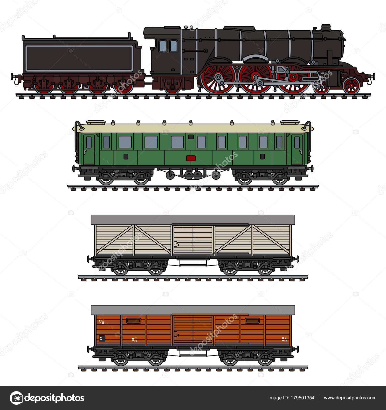 Hand Drawing Vintage Freight Steam Train — Stock Vector © 2v #179501354
