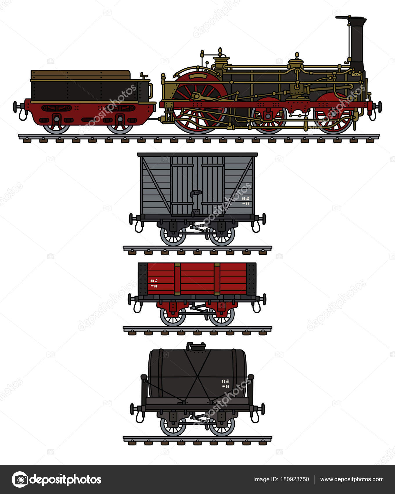 Hand Drawing Historical Freight Steam Train — Stock Vector © 2v
