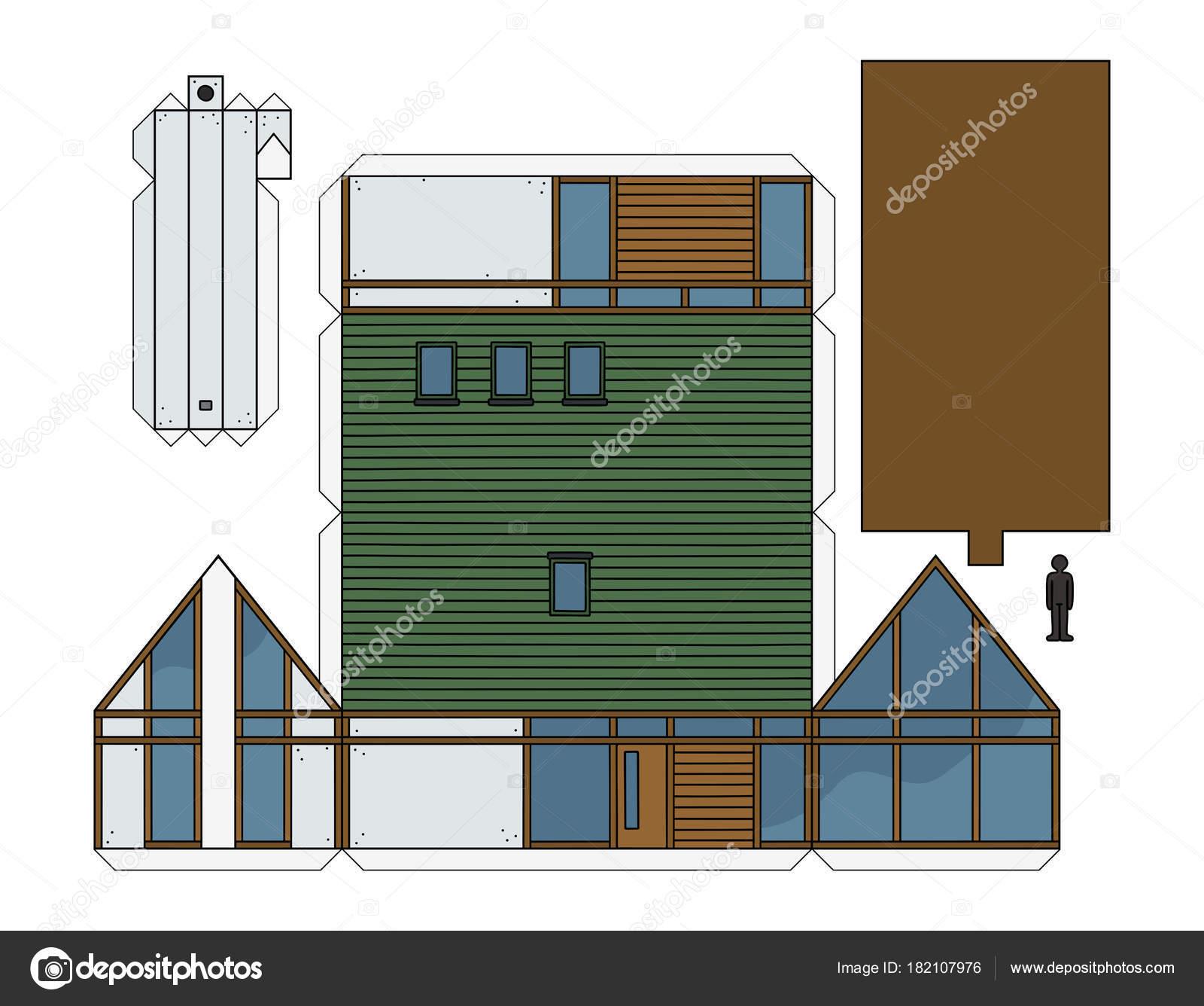 Modelo Papel Una Casa Diseño Moderno — Vector de stock © 2v #182107976