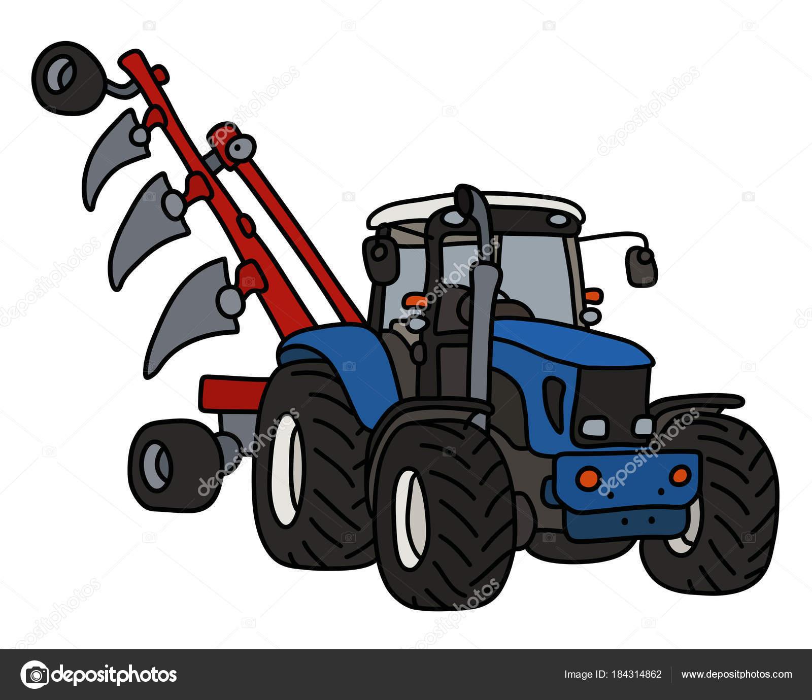 Main dessin tracteur bleu avec charrue image vectorielle 2v 184314862 - Dessin anime avec tracteur ...