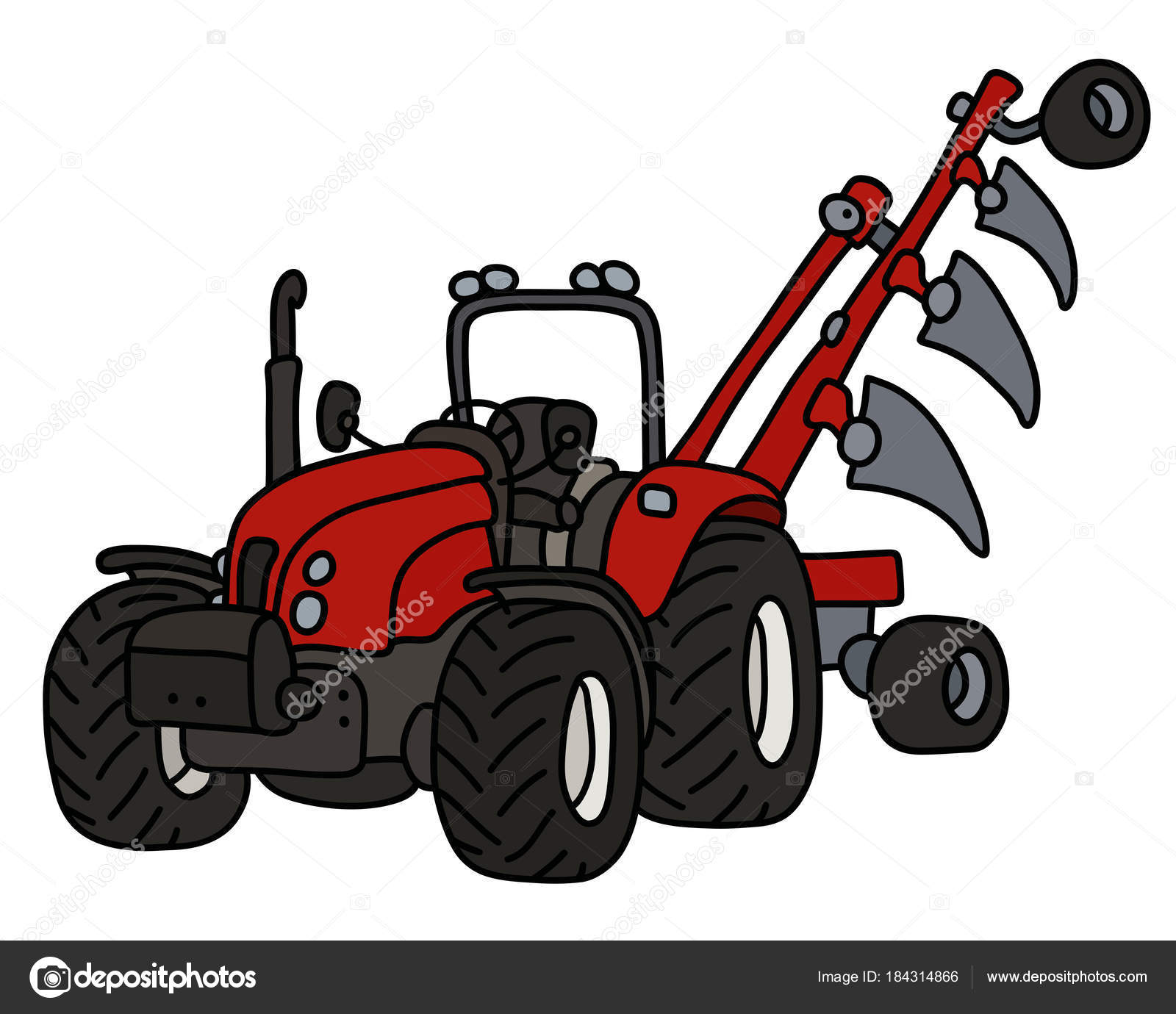 Hand Drawing Red Tractor Plow Stock Vector C 2v 184314866