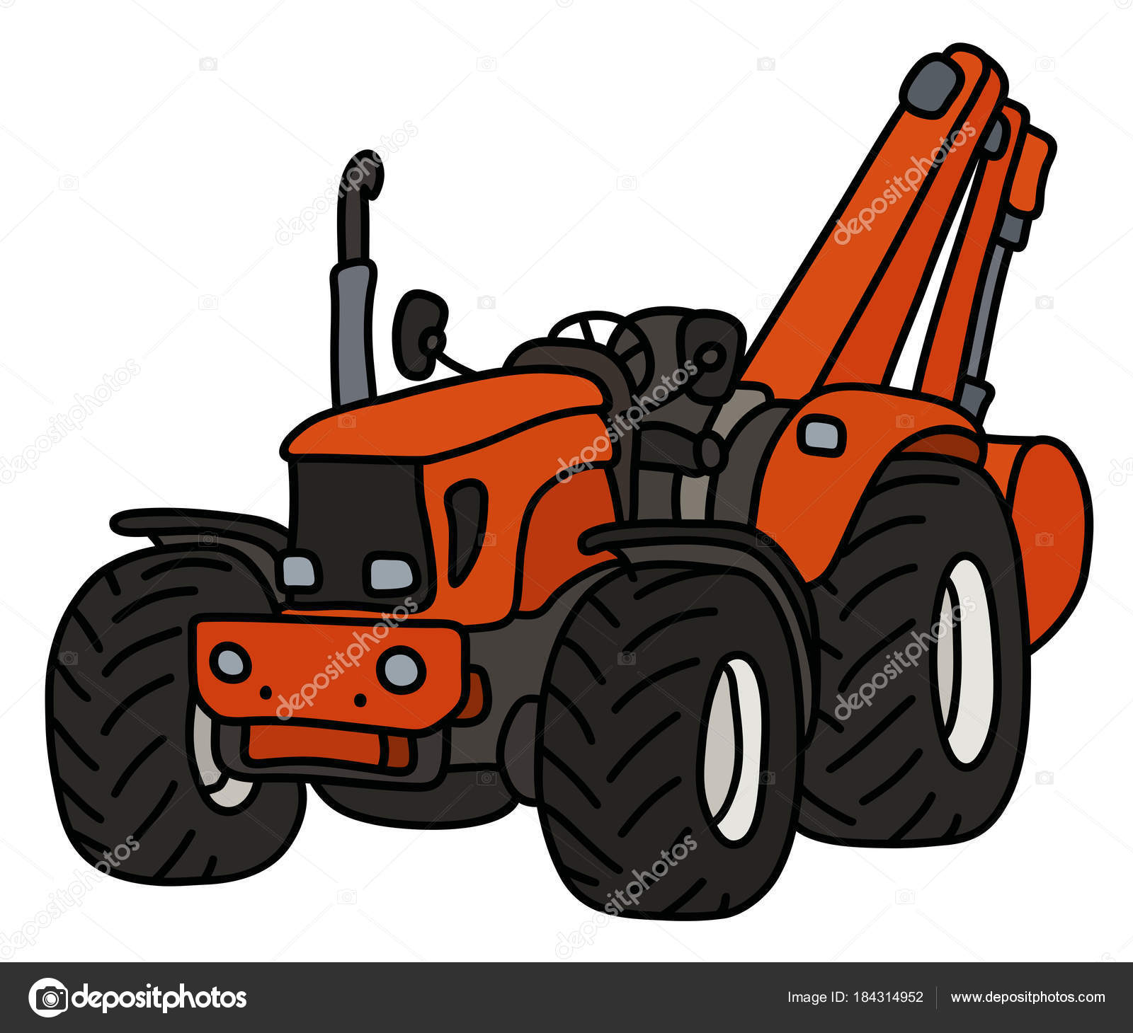 Main dessin tracteur orange avec pelle image vectorielle 2v 184314952 - Dessin anime avec tracteur ...