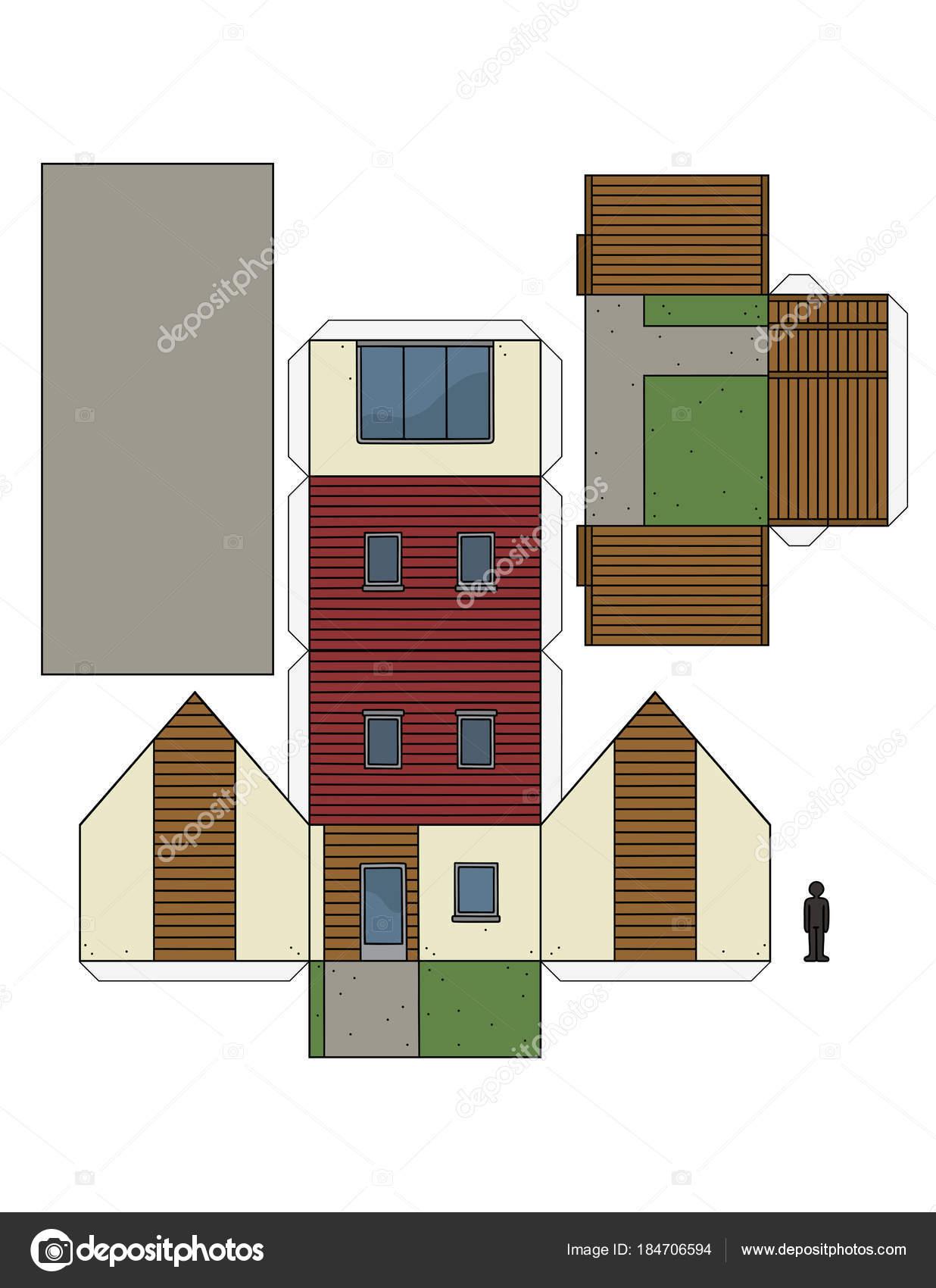 Maquette Maison Moderne maquette papier une petite maison moderne — image vectorielle 2v