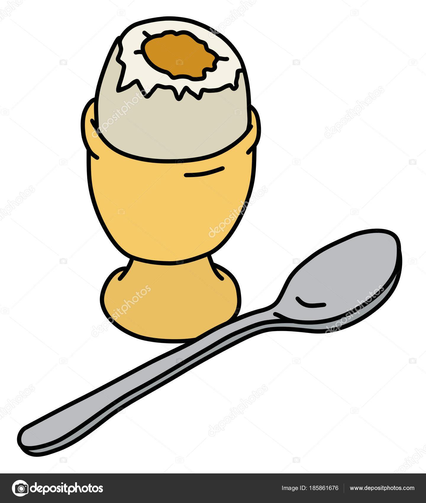 mão desenho ovo meio cozido stand cerâmico amarelo vetor de stock