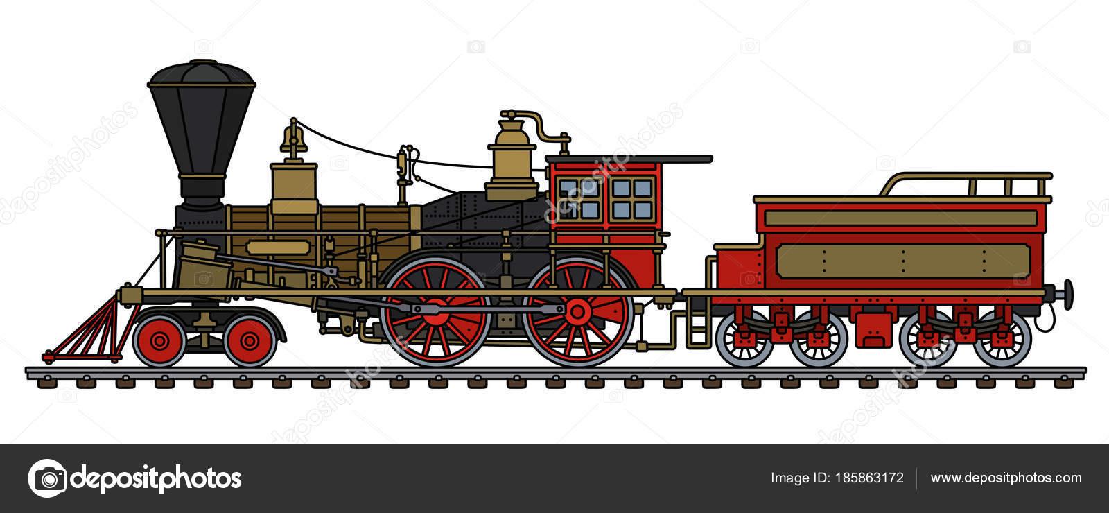 Drawings: steam locomotive   Hand Drawing Vintage Red