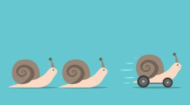 Unique snail with wheels