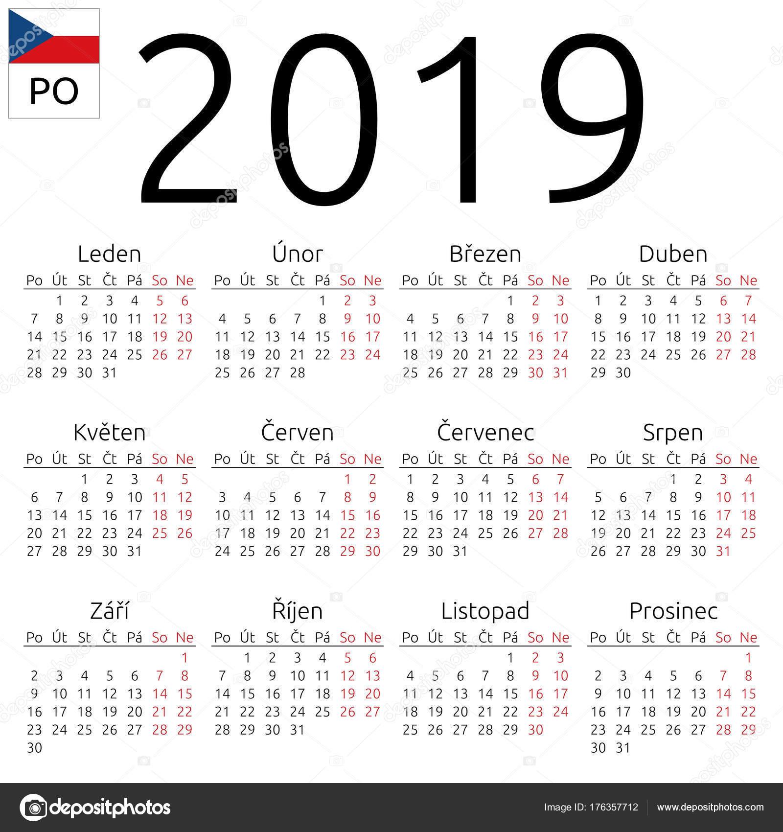 ünnepnapok 2019 naptár Naptár 2019, Cseh, hétfő — Stock Vektor © Dmitry_Guzhanin #176357712 ünnepnapok 2019 naptár
