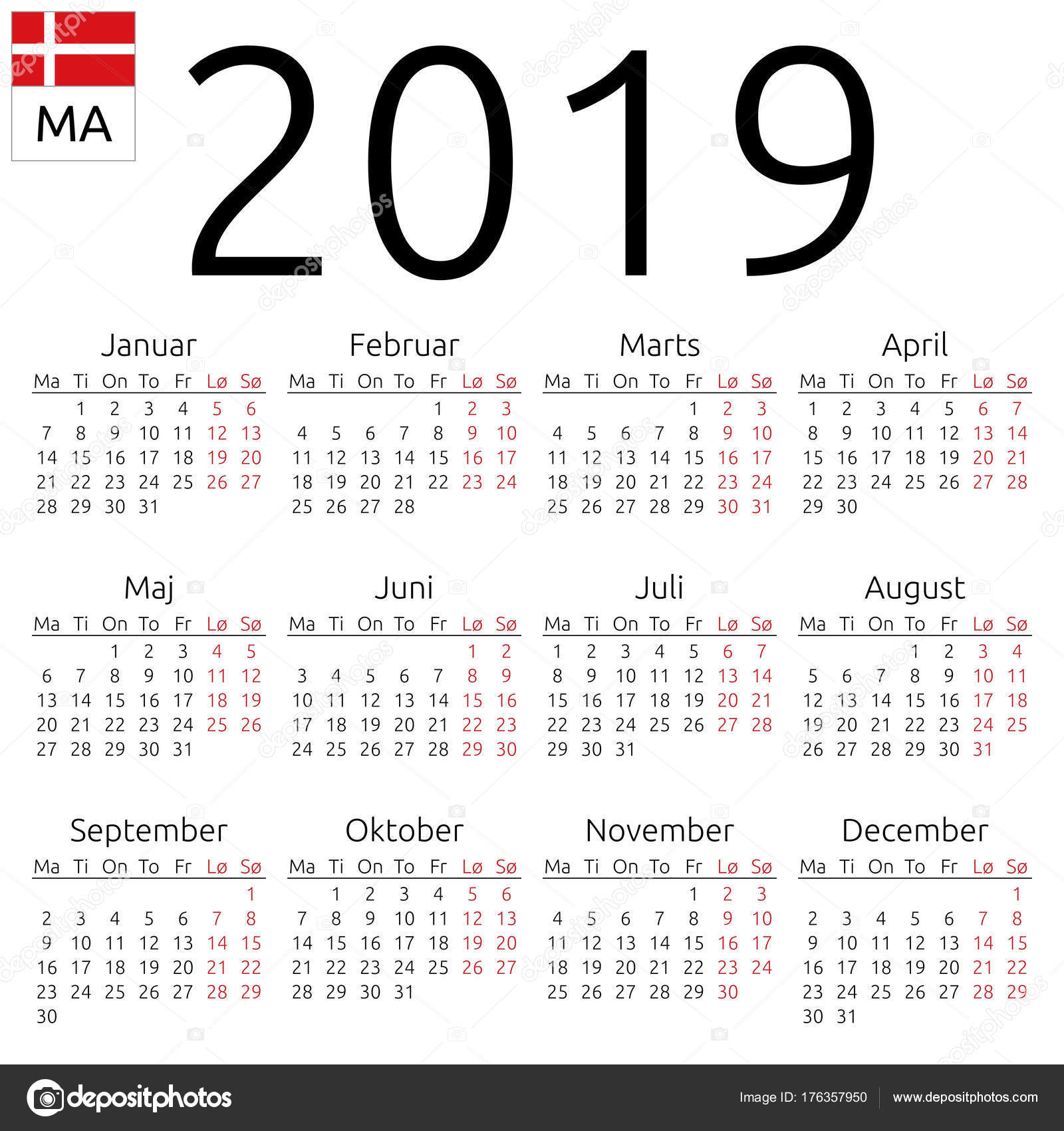 naptár 2019 Calendar 2019, Danish, Monday — Stock Vector © Dmitry_Guzhanin  naptár 2019