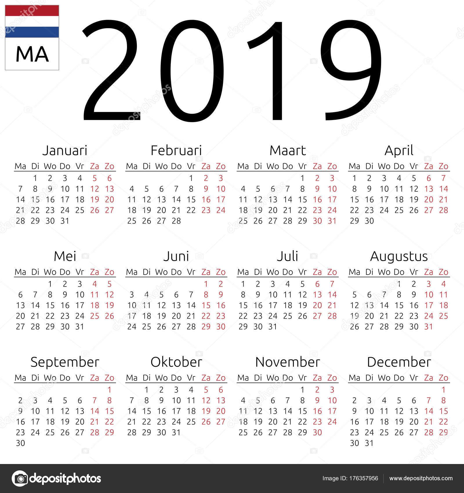 Takvim 2019 Hollandaya Diline Ilişkin Pazartesi Stok Vektör