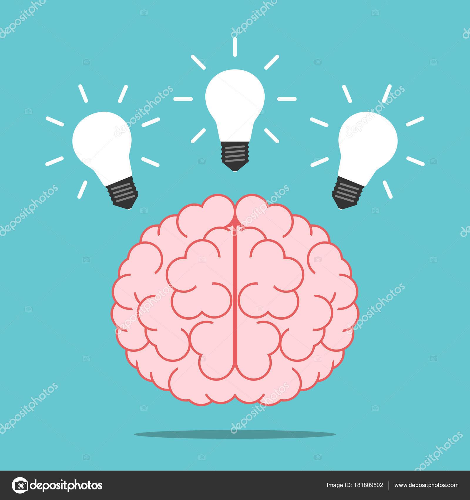 Brain Three Shining Light Bulbs Turquoise Blue Background ...