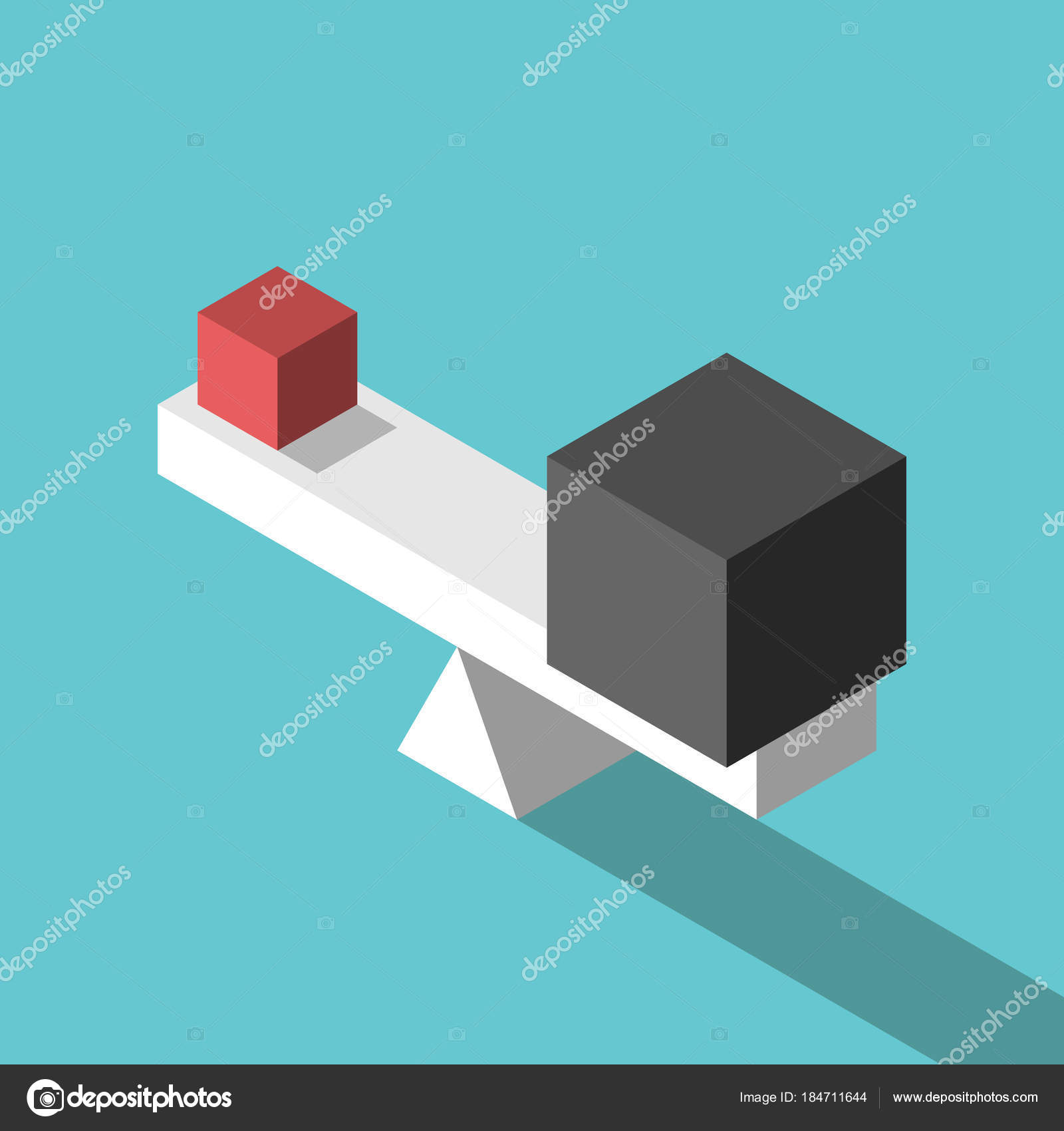 Cubos pequeños, grandes, equilibrio — Vector de stock ...