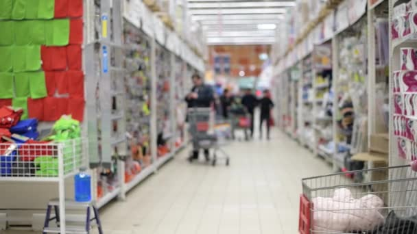 Mädchen mit kleiner Tochter und Einkaufswagen läuft durch einen Supermarkt. Betreten und Verlassen des Rahmens