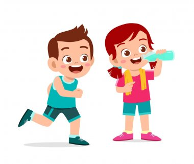 happy cute kids boy and girl doing sport