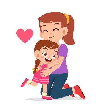 Happy cute kid girl hugging mom love stock vector