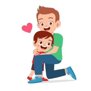 happy cute kid boy hugging dad love