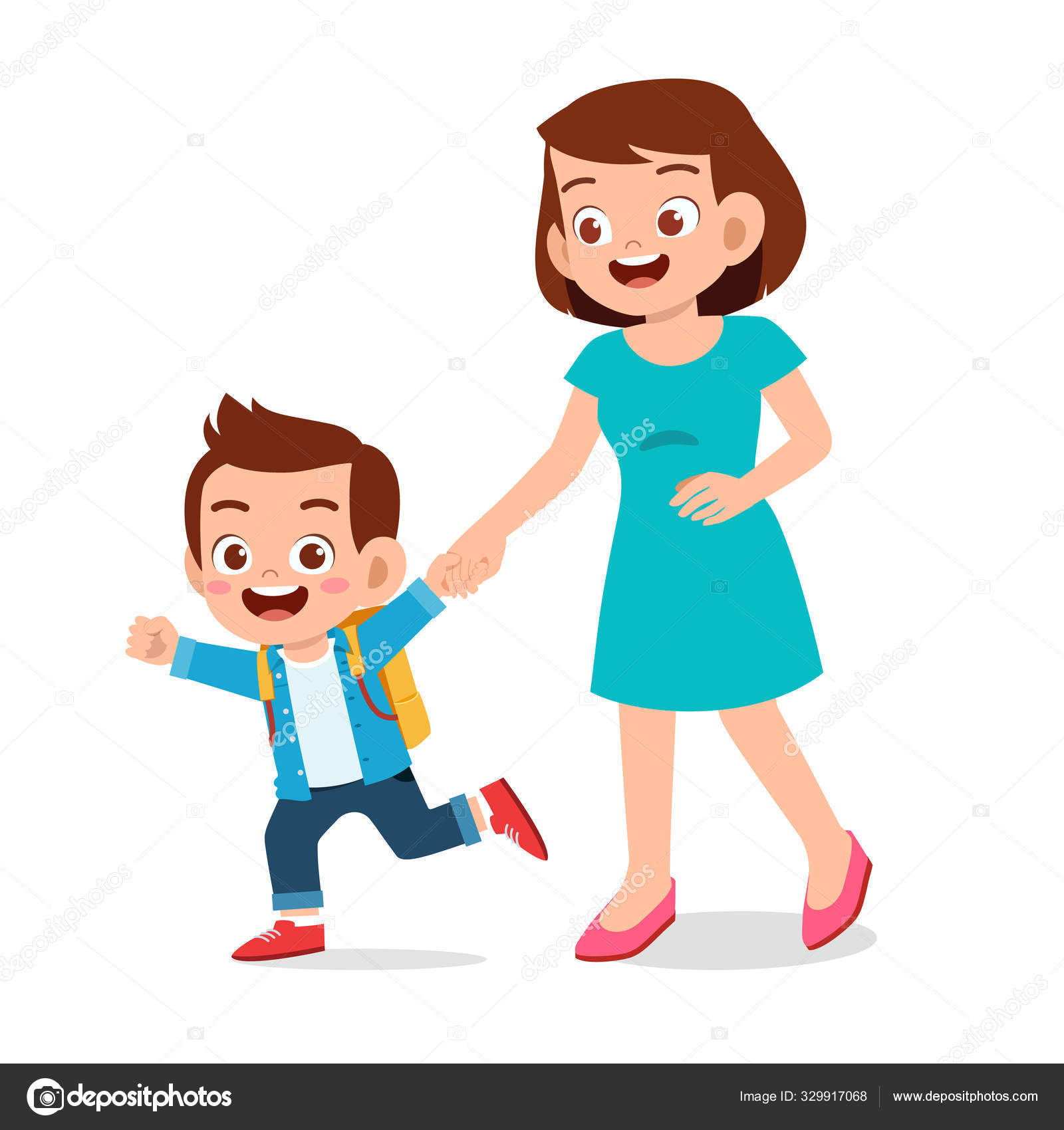Happy Cute Anak Laki Laki Hari Pertama Sekolah Dengan Ibu Stok Vektor C Colorfuelstudio 329917068