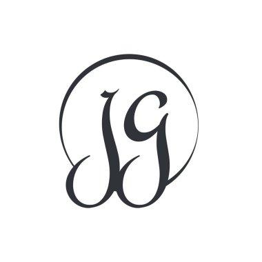 Creative letter JG Logo Design Vector Template. Initial Linked Letter JG Logo Design