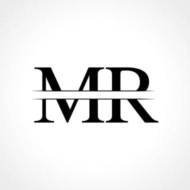 Initial MR letter Logo Design vector Template. Abstract Black Letter MR logo Design