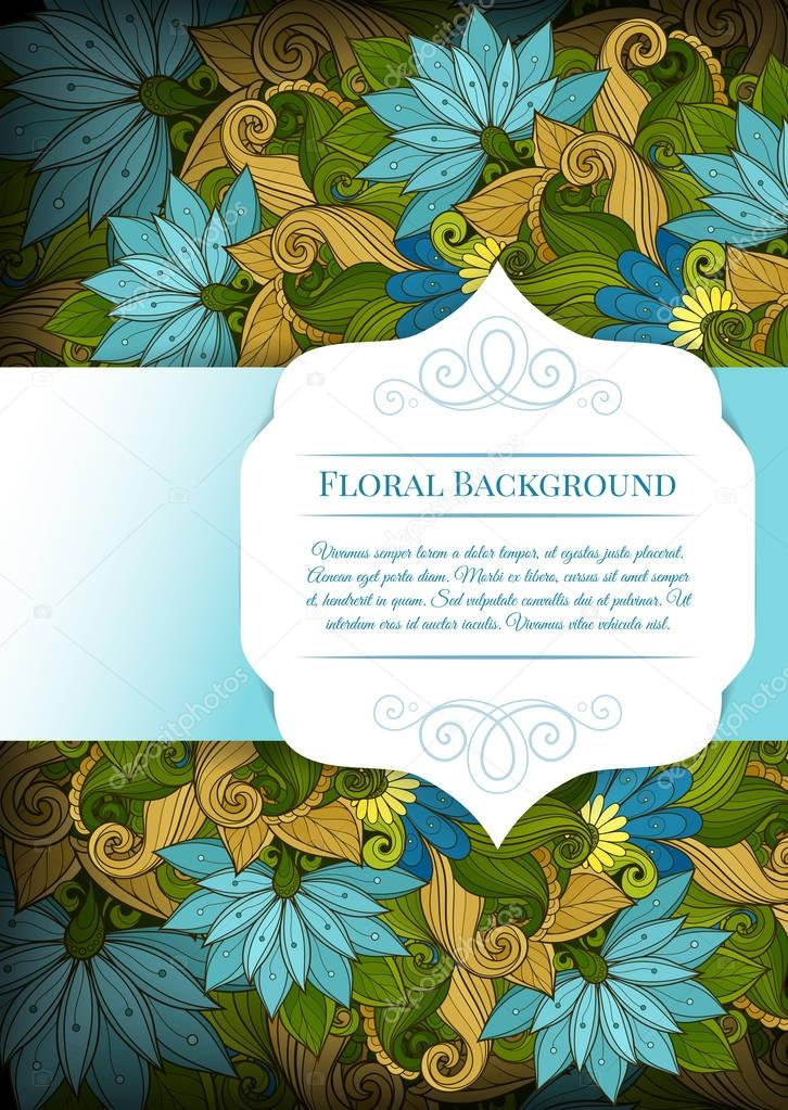 Floral frame Template with Place for Text