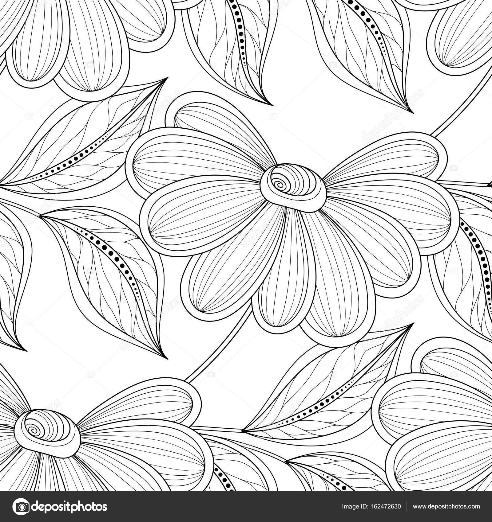 Wektor bezszwowe monochromatyczne kwiatowy wz³r Ręcznie rysowane tekstury kwiatowy kwiaty ozdobne Kolorowanka — Wektor od Krivoruchko