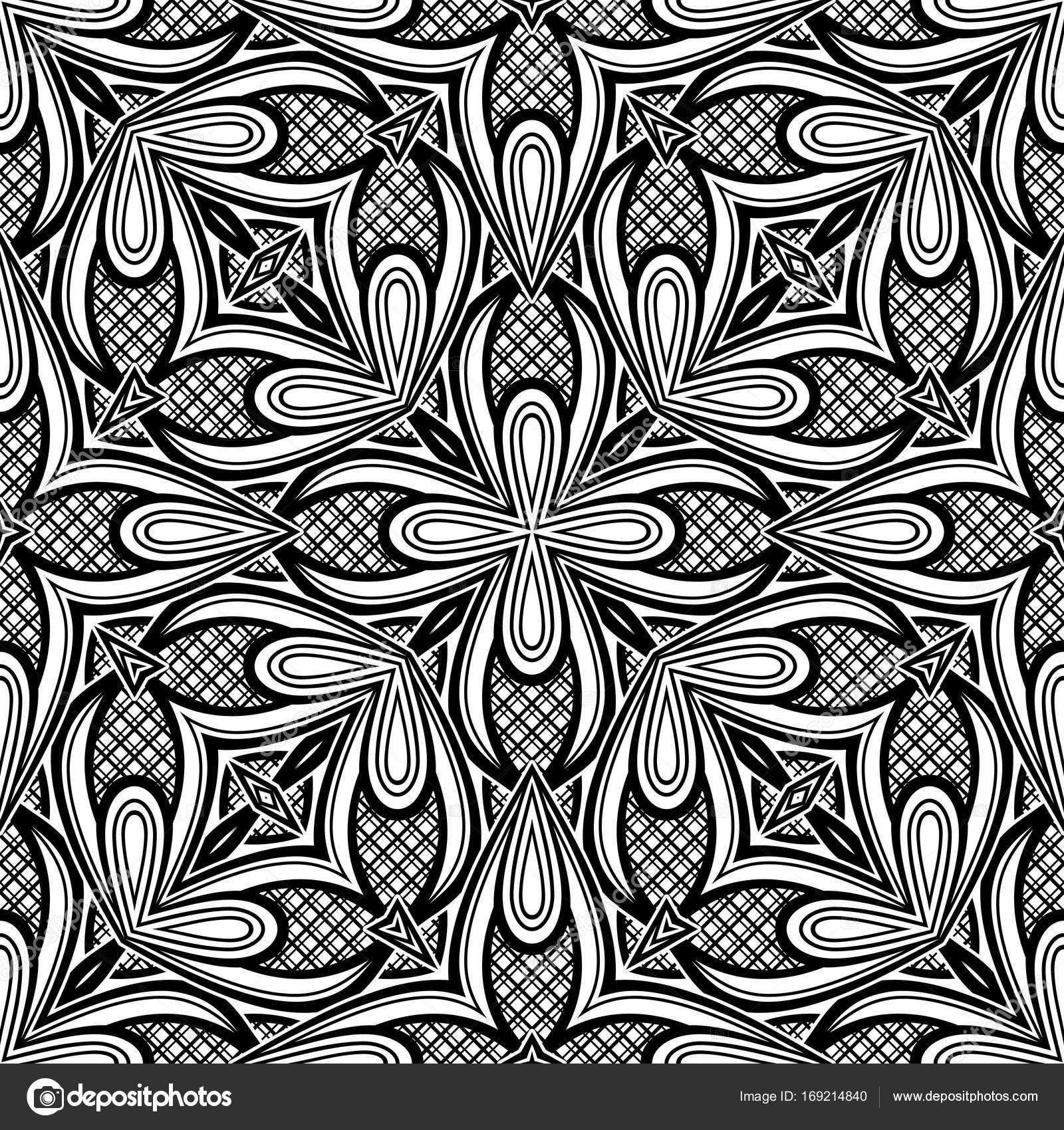 Tło kafelka Kalejdoskop Pod presją drukowanie szablon³w Wektor ilustracja kontur Sztuka stylu etnicznym — Wektor od Krivoruchko