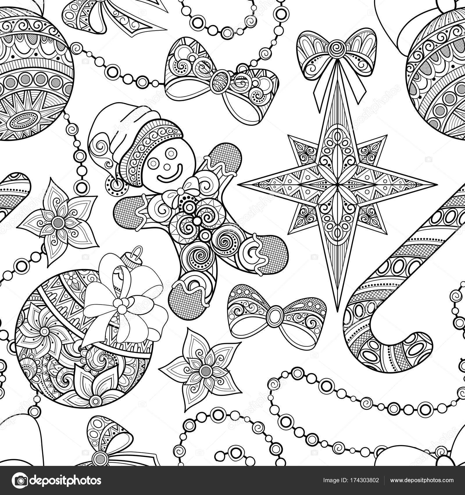 Patrón de monocromo transparente feliz Navidad, año nuevo Illustrati ...