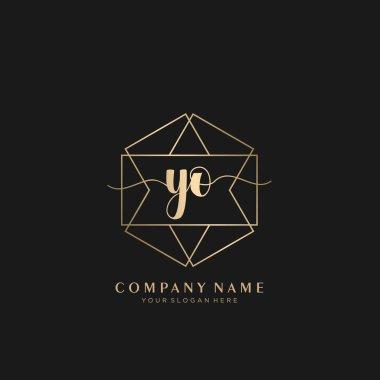 YO Initial handwriting logo geometric template vector