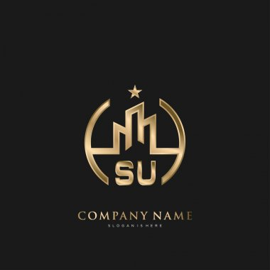 SU Initial Letter Real Estate Luxury house Logo Vector for Business, Building, Architecture
