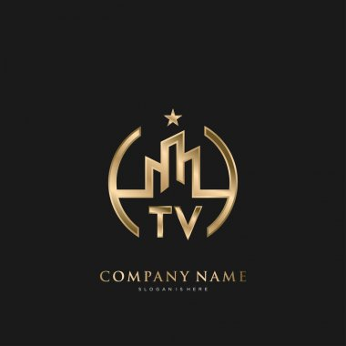 TV Initial Letter Real Estate Luxury house Logo Vector for Business, Building, Architecture