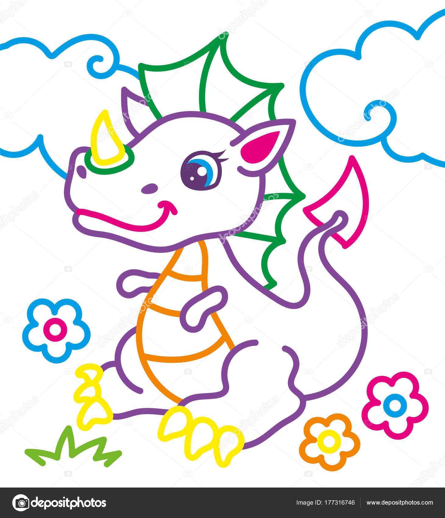 Libro para colorear de dragón lindo — Archivo Imágenes Vectoriales ...